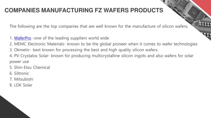 COMPANIES MANUFACTURING FZ WAFERS PRODUCTS