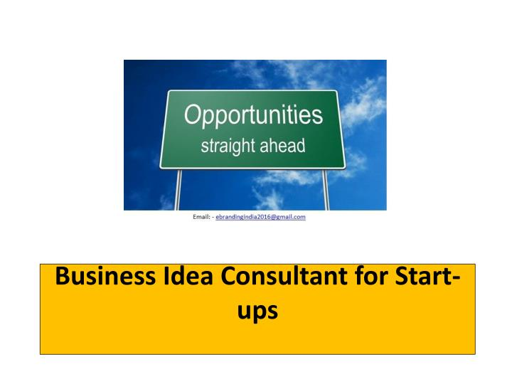 Business idea consultant for start ups