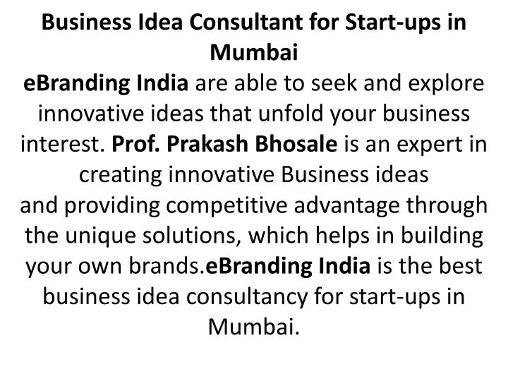 Business Idea Consultant for Start-ups in Mumbai