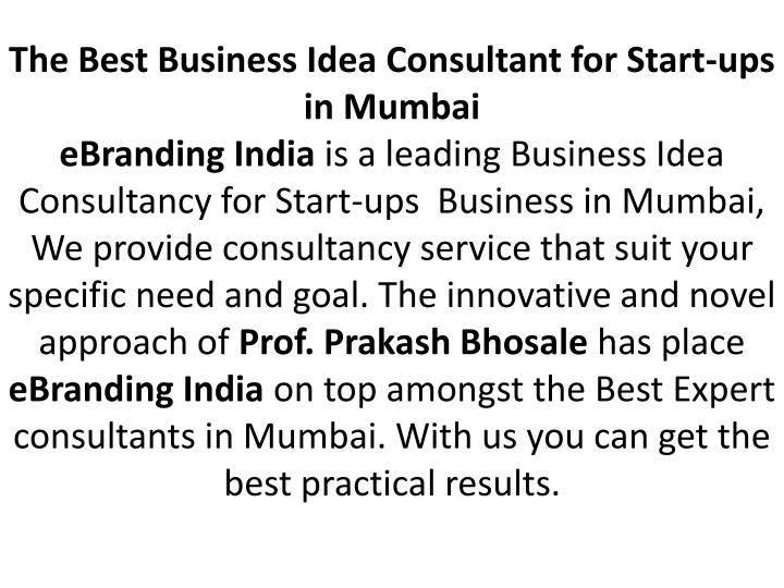 The Best Business Idea Consultant for Start-ups in Mumbai
