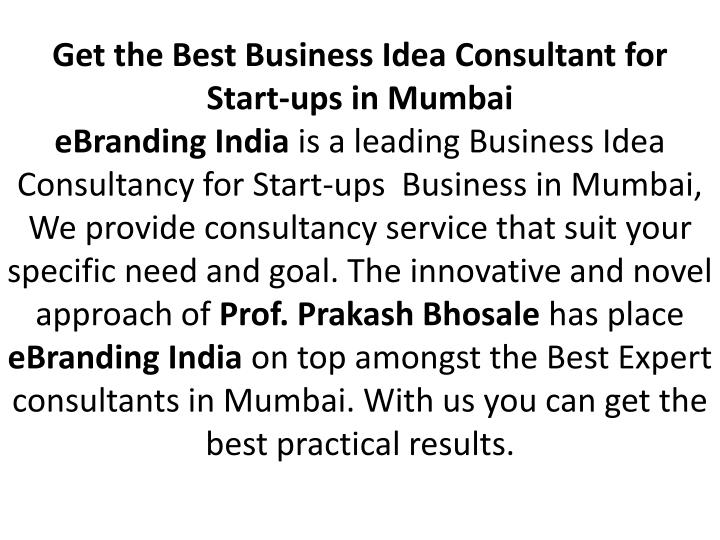 Get the Best Business Idea Consultant for Start-ups in Mumbai