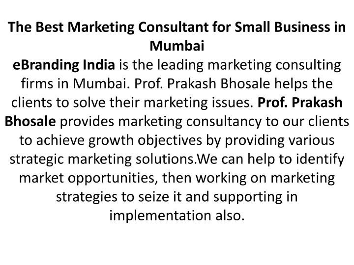 The Best Marketing Consultant for Small Business in Mumbai