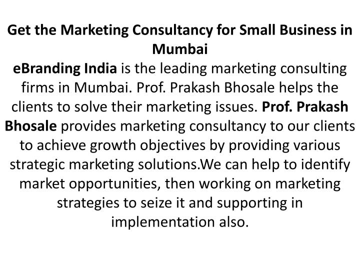 Get the Marketing Consultancy for Small Business in Mumbai