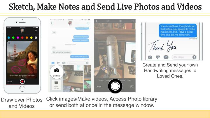 Sketch, Make Notes and Send Live Photos and Videos