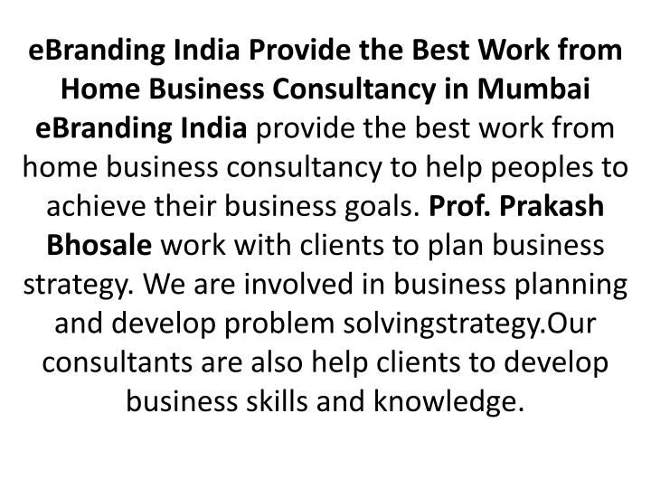 eBranding India Provide the Best Work from Home Business Consultancy in Mumbai