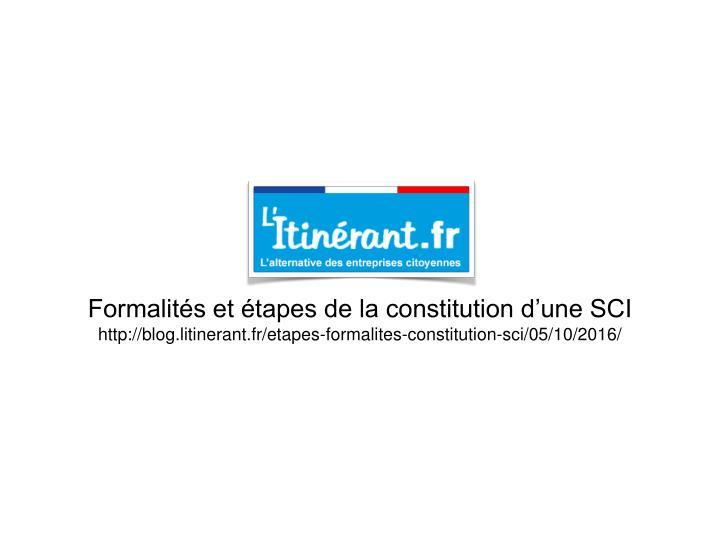 Formalités et étapes de la constitution d'une SCI