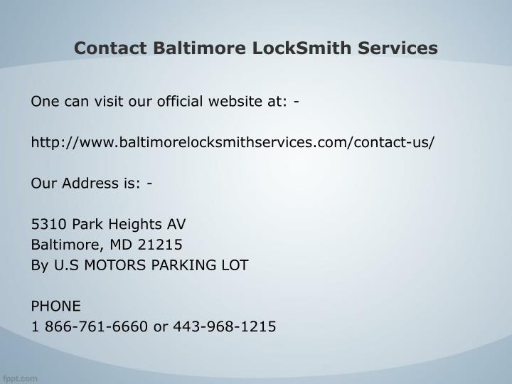 Contact Baltimore LockSmith Services