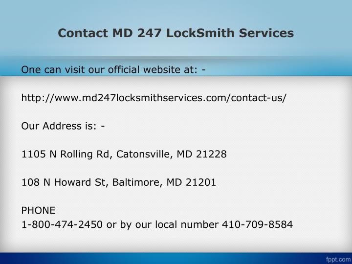 Contact MD 247 LockSmith Services