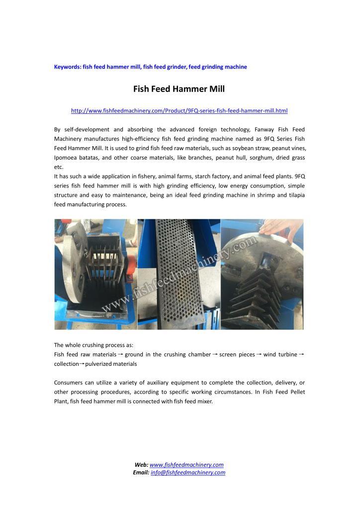 Keywords: fish feed hammer mill, fish feed grinder,feed grinding machine