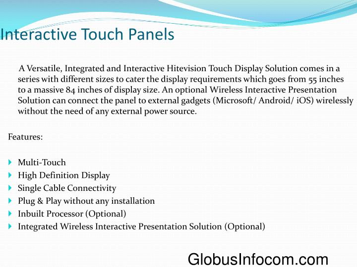 Interactive Touch Panels