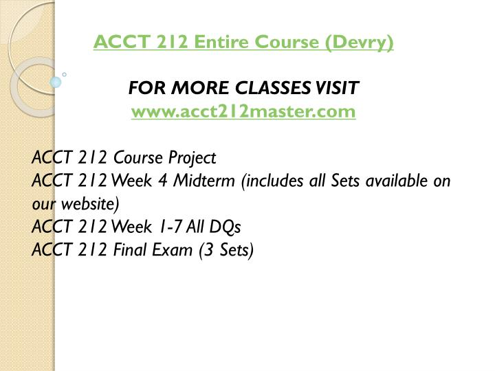 ACCT 212 Entire Course (