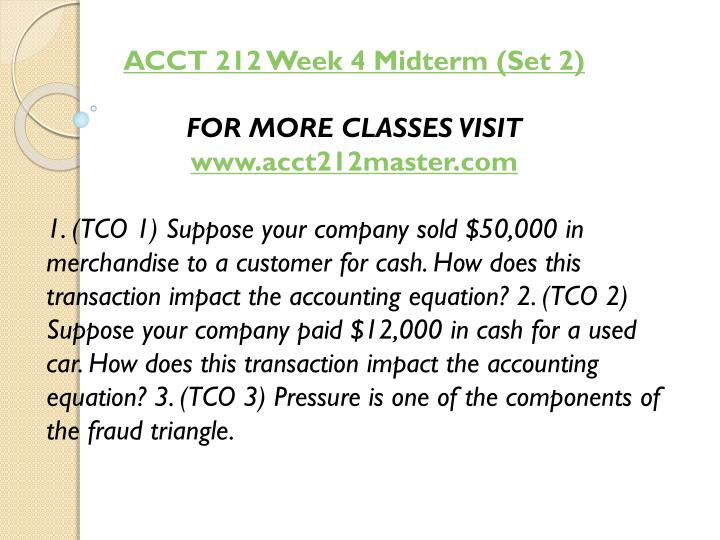ACCT 212 Week 4 Midterm (Set 2)