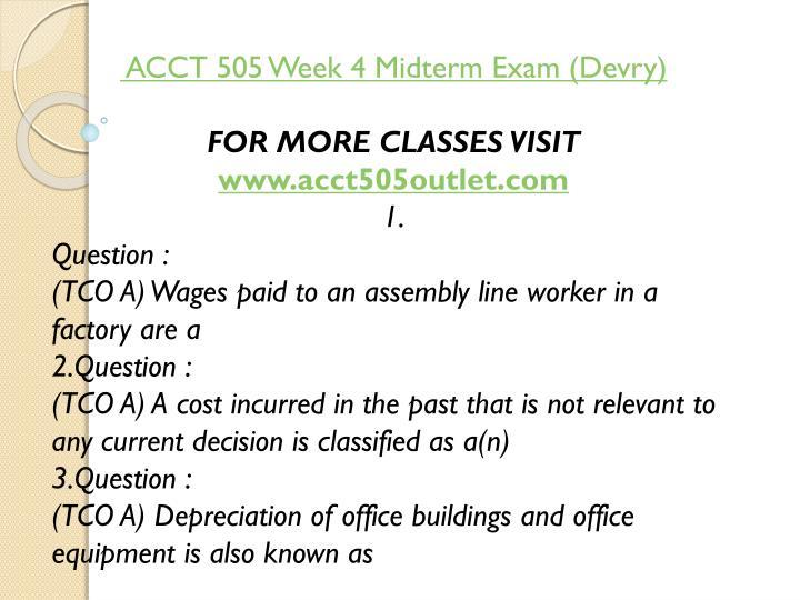 ACCT 505 Week 4 Midterm Exam (