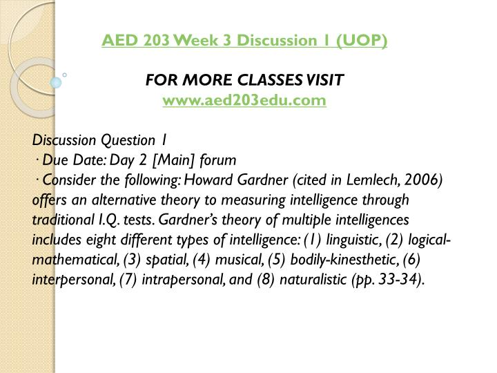 AED 203 Week 3 Discussion 1 (UOP)