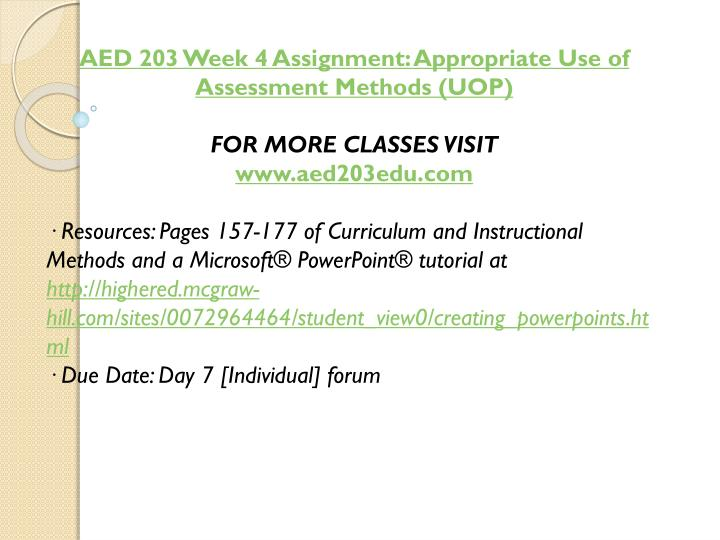 AED 203 Week 4 Assignment: Appropriate Use of Assessment Methods (UOP)