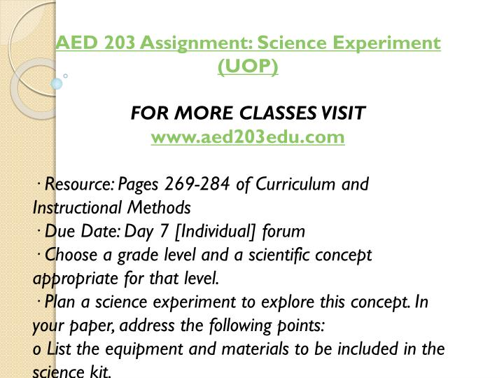 AED 203 Assignment: Science Experiment (UOP)