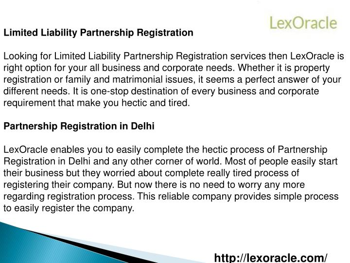 Limited Liability Partnership Registration