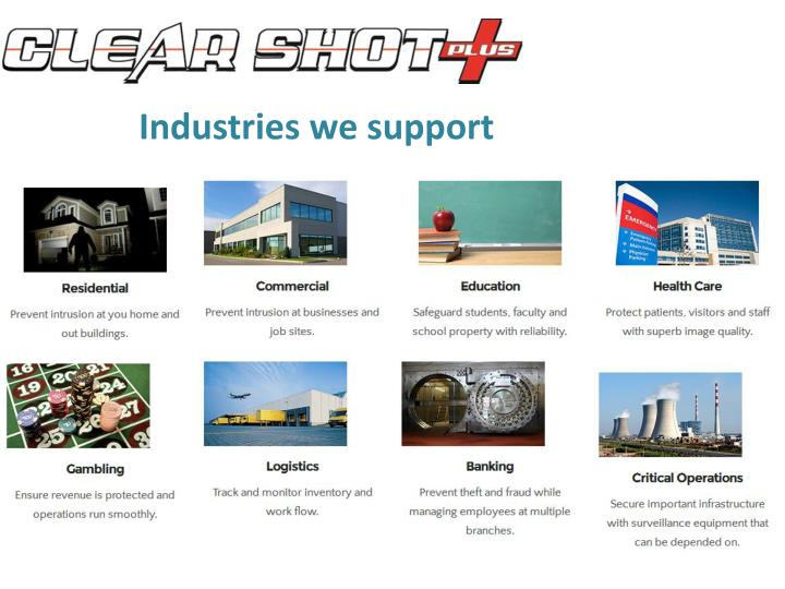 Industries we support