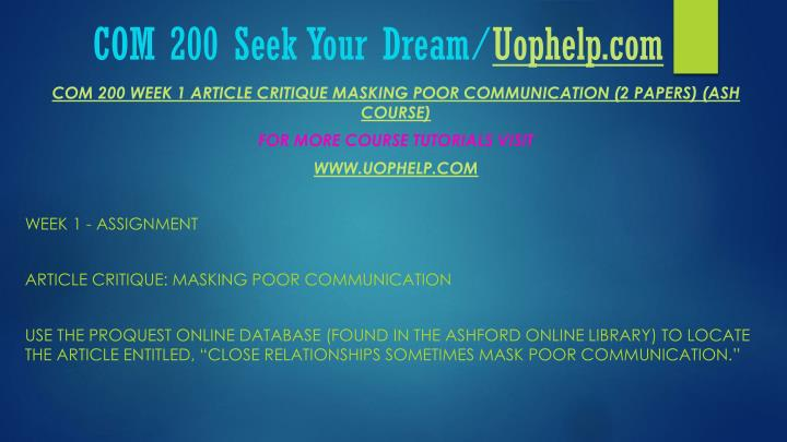 Com 200 seek your dream uophelp com2