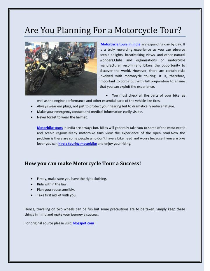 Are You Planning For a Motorcycle Tour?