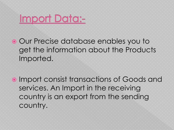 Import Data:-
