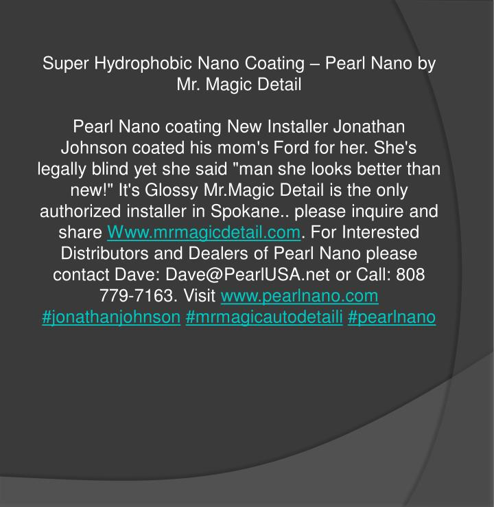 Super Hydrophobic Nano Coating