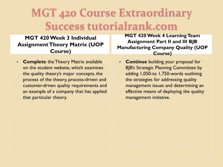 MGT 420 Week 3 Individual Assignment Theory Matrix (UOP Course)