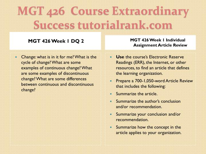 MGT 426 Week 1 DQ 2