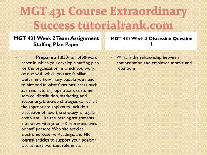 MGT 431 Week 2 Team Assignment Staffing Plan Paper