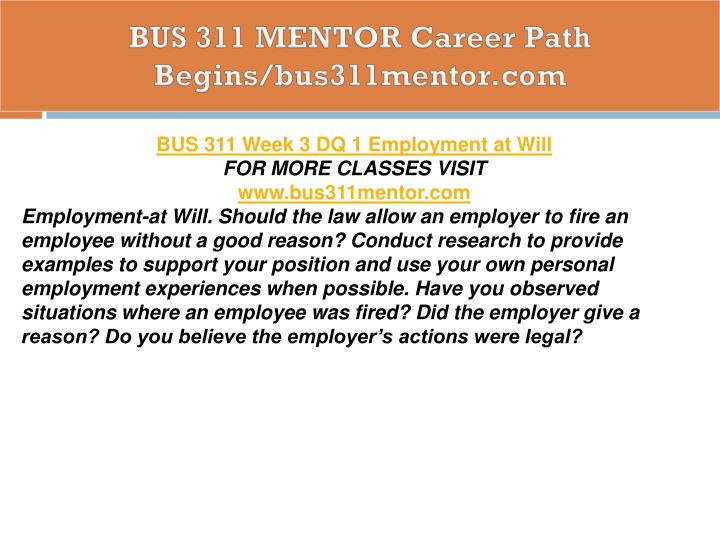 BUS 311 MENTOR Career Path Begins/bus311mentor.com