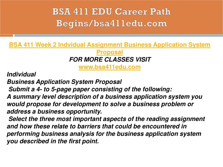 BSA 411 EDU Career Path Begins/bsa411edu.com