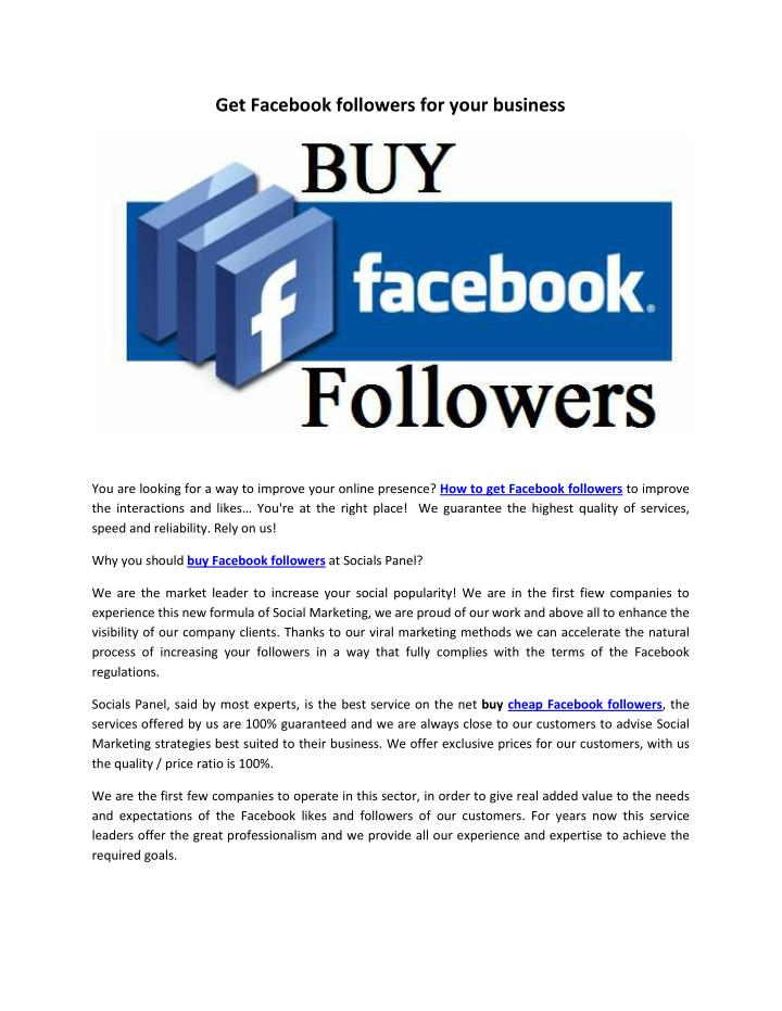 Get Facebook followers for your business