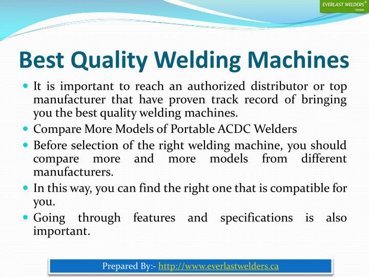 Best Quality Welding Machines