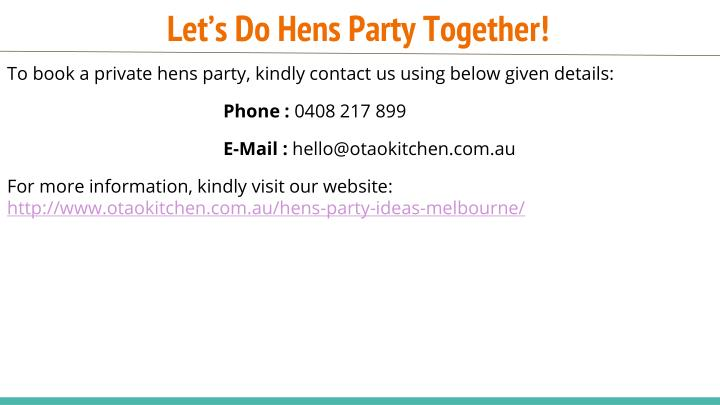 Let's Do Hens Party Together!