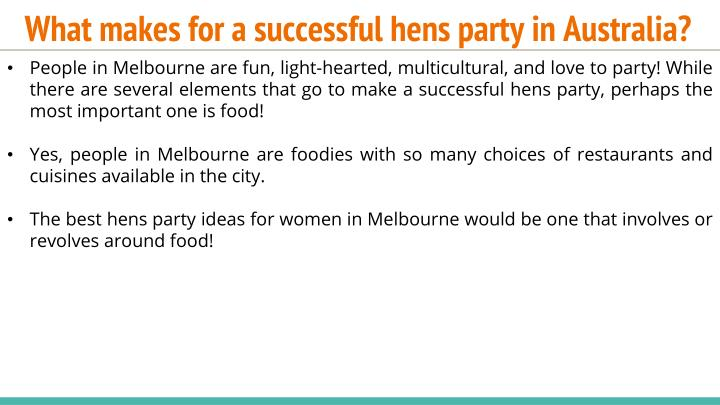 What makes for a successful hens party in Australia?