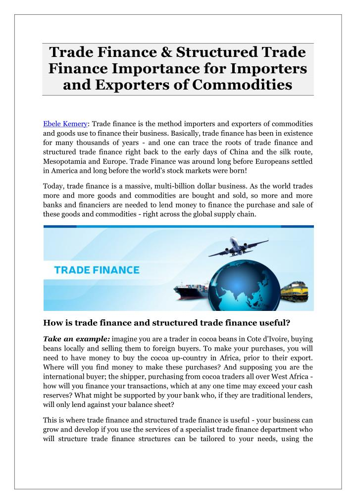 Trade Finance & Structured Trade