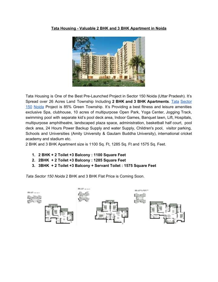 Tata Housing - Valuable 2 BHK and 3 BHK Apartment in Noida