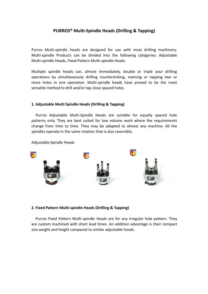 PURROS® Multi-Spindle Heads (Drilling & Tapping)