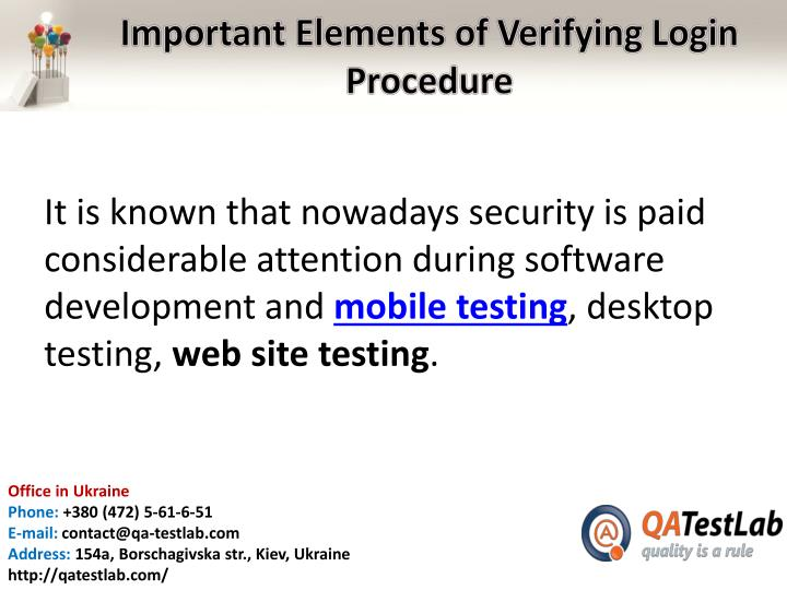 Important elements of verifying login procedure