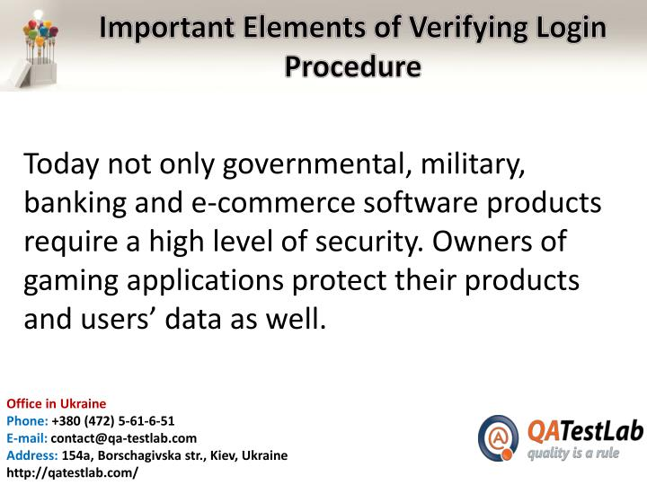 Important elements of verifying login procedure1