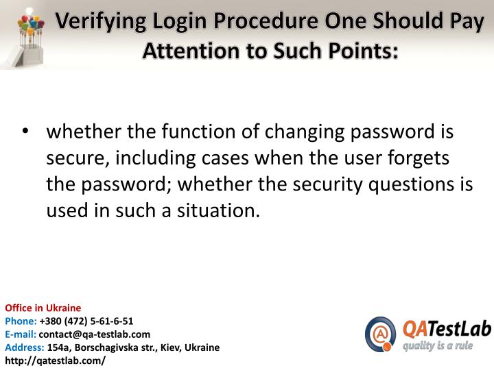 Verifying Login Procedure One Should Pay Attention to Such Points
