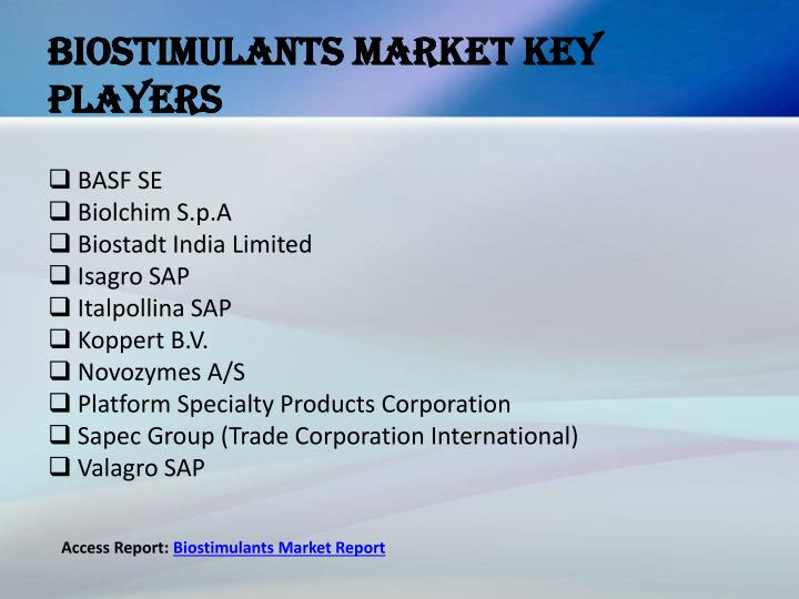 Biostimulants market key players