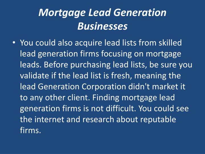 Mortgage Lead Generation Businesses