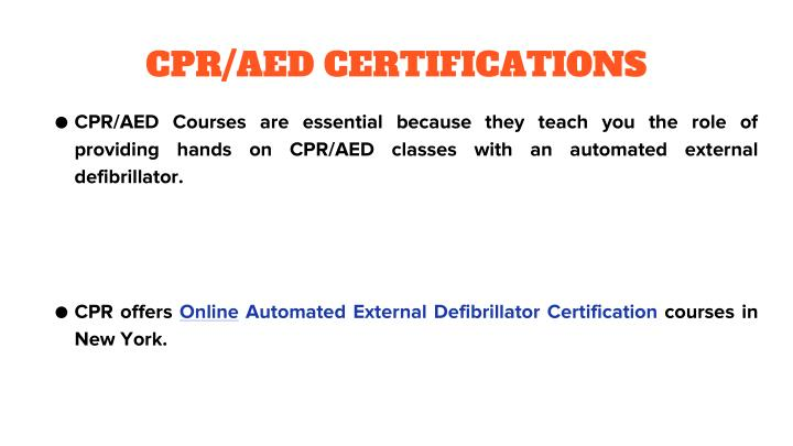 CPR/AED CERTIFICATIONS