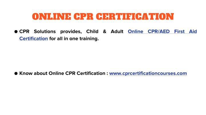 ONLINE CPR CERTIFICATION
