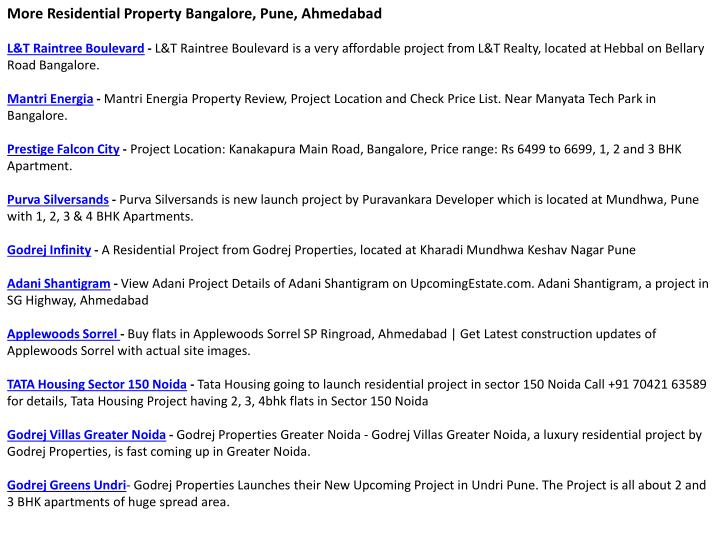 More Residential Property Bangalore, Pune, Ahmedabad