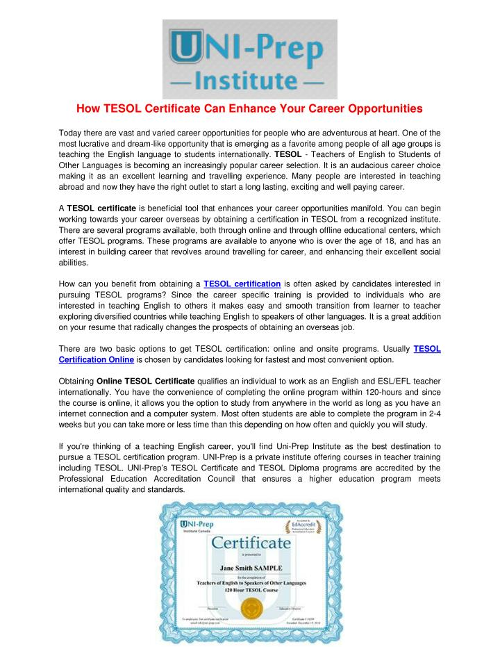 How TESOL Certificate Can Enhance Your Career Opportunities
