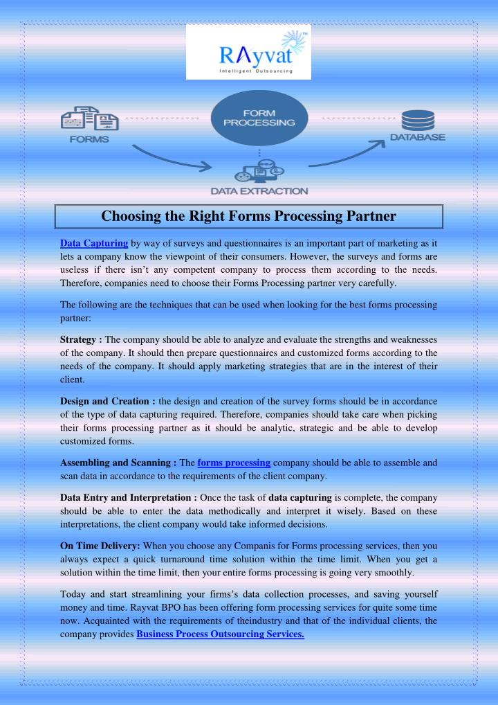 Choosing the Right Forms Processing Partner
