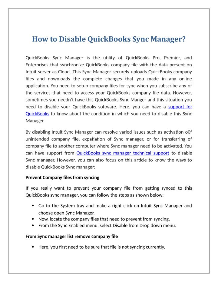 How to Disable QuickBooks Sync Manager?