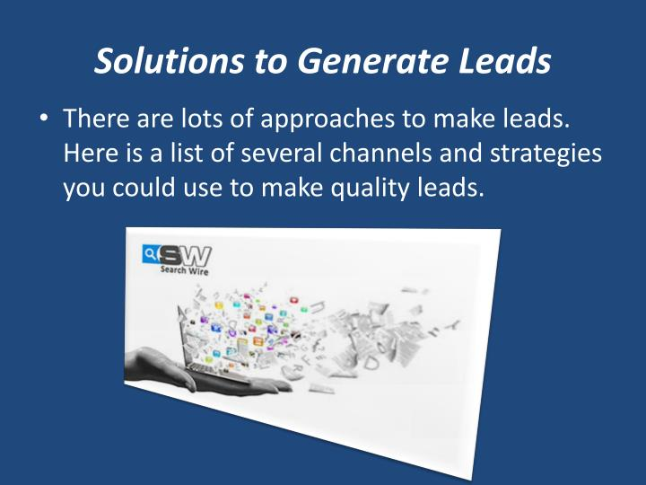 Solutions to Generate Leads